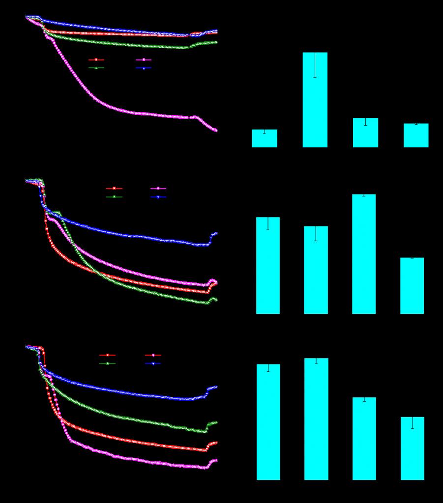 图2 常温下鼠李糖脂对大分子物质及脱氮硫杆菌初始粘附的影响:(a)&(b)大分子溶液;(c)&(d)大分子及低浓度微生物菌液;(e)&(f)大分子及高浓度微生物菌液